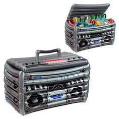 Your guests will make some noise over this fun Inflatable Boom Box Cooler! Includes 1 cooler that holds 12 oz.Includes Inflatable Boom Box Cooler, hold 48 - cans. 80s Birthday Parties, Birthday Party Themes, 2nd Birthday, 90s Theme Party Decorations, 80s Theme Party Outfits, Birthday Music, 1990s Party Theme, Cool Party Themes, Summer Party Themes