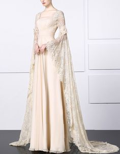 This Chiffon Bridal Gown with Long Lace Sleeves would be lovely for a summer garden wedding as it has a square neckline, long flowing sleeves, a natural waist and a zipper closure at the back