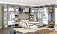 Quarto de Casal Modulado Completo com 9 Módulos Harmony Avelã/Camurça - Urbe Móveis | Lojas KD Home, Suite, Bedroom Design, Bed, Furniture, Home Gadgets, Interior, Boy Room, Room