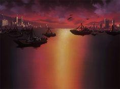 Animazione Barche in acqua al tramonto, SIFCO barche in acqua al tramonto sfondo