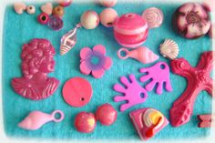 Set  pink Mix cabochons and many pcs by BlytheinWonderland on Etsy, $10.00