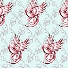 Tattoo Swallow and Hearts fabric by missmegs on Spoonflower - custom fabric