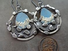 Sterling pewter and blue tin earrings by DiPiazzaMetalworks, $65.00