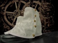 MADE TO ORDER Spats in white damask steampunk by RavenThreadsLab