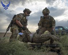 PJs and EOD work Together Senior Airmen Kyle Green, left, and Ty Hatcher, both 83rd Expeditionary Rescue Squadron pararescue specialists, lift a wounded warrior onto a litter during a mass casualty and extraction exercise at Bagram Airfield, Afghanistan.