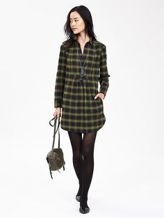Plaid Shirtdress - would be a tunic shirt for me