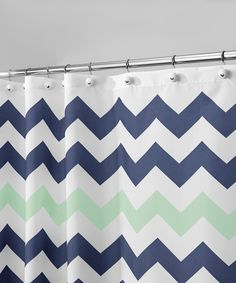 Look what I found on #zulily! Navy & Mint Chevron Shower Curtain by InterDesign #zulilyfinds