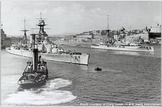 Battlecruiser HMS Hood (left) and battleship HMS Barham in Malta Harbour, 1937. Both these famous ships were to be sunk in 1941 (Hood by Bismarck in May, and Barham by a U boat in November) - other pictures elsewhere on this Board.