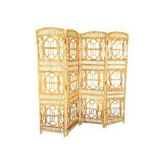 1960s Three Panel Rattan and Mirror Floor Screen Room Divider ...