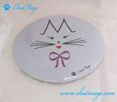 """Miroir de poche, miroir de sac, bleu, bleu ciel, chat, ChatMage, """"Mademoiselle ChatMage"""", Pocket Mirror, Bag Mirror, cat, """"Miss ChatMage"""", blue, sky blue"""
