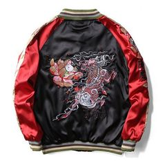 Lotus dragon jackets Chinese style embroidered bomber jacket for men