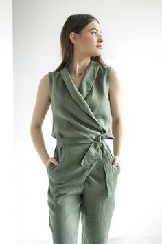 Giovanna linen jumpsuit wrap linen jumpsuit for women women etsy. Asos Jumpsuit, Wrap Jumpsuit, Wrap Dress, Summer Jumpsuit, Jumpsuit Outfit, Dress For Summer, Summer Dresses, Outfit Summer, Hijab Mode Inspiration