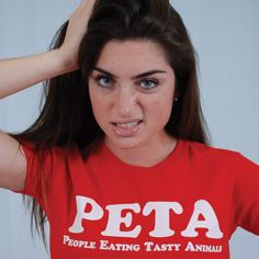 PETA-PEOPLE EATING TASTY ANIMALS FUNNY T-SHIRTS(WHITE INK)