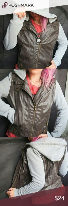 Rue21 Faux Leather Hooded Jacket Stay warm in this stylish jacket🔥 Super comfortable faux leather jacket☀ 100% Polyester material💥 Only worn out once⭐ Marked XL but feels like more like M🙅 Perfect wearing condition, but small stain on left sleeve (pictured above)📸 Super cute zip-up hooded jacket💙 💫Open to bundle offers💫 Rue21 Jackets & Coats Blazers