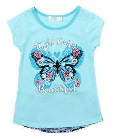 Look at this #zulilyfind! Aqua 'Make Today Beautiful' Butterfly Tee - Girls #zulilyfinds