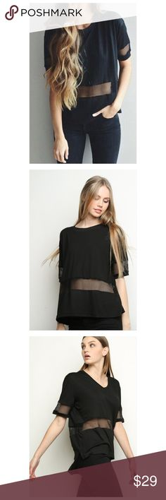 Brandy Melville Black Mesh Panel Top NWT OS Brand new with tags ! One size   Black Cotton with Sheer mesh panel and short sleeves. Very cute ! Brandy Melville Tops Tees - Short Sleeve