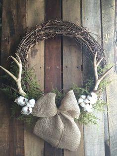 Antler Wreath Cotton Wreath Rustic by CWdesignsShop Diy Fall Wreath, Autumn Wreaths, Wreath Ideas, Rustic Wreaths, Burlap Wreaths, Spring Wreaths, Summer Wreath, Fall Crafts, Holiday Crafts