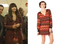 Cece's (Hannah Simones) Parker zig zag dress from New Girl season 2 Christmas episode #getthelook #newgirl