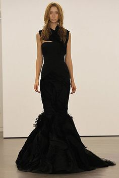 Vera Wang Black wedding dress for a bride from the deep forest    I want this style of dress but in white or cream, and with lace, and the skirt a little higher from the floor so i can walk and not trip