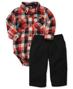 Carter's Baby Set, Baby Boys 2-Piece Plaid Bodysuit and Pant Set - Kids - Macy's
