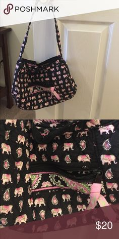 Pink elephants (retired) Vera Bradley purse Barely used! Great condition!! Vera Bradley Bags Shoulder Bags