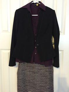 Texture skirt, maroon collar shirt, whbm black jacket