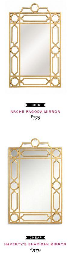ARCHE PAGODA MIRROR $775 -vs- HAVERTY'S SHARIDAN MIRROR $370