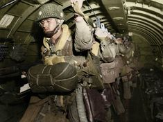 US Paratroopers over Normandy on D-Day preparing to jump, 1944-