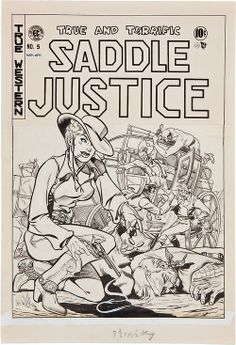 Original cover art by Graham Ingels from Saddle Justice #5, published by EC Comics, March 1949.