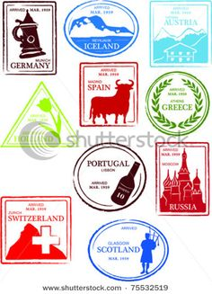 Retro European World Set of Fun Country Passport Stamps Vector Illustration
