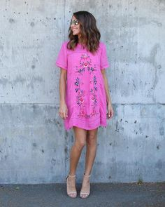 Suspiciously Sweet Embroidered Dress - Pink