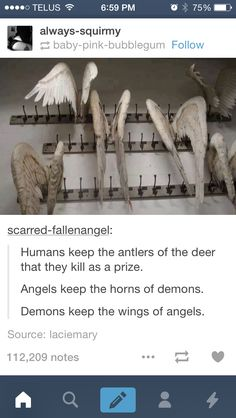 "((RP? Any gender, I'm the Angel))The demon chains my wrists together as he/she leads me into their house. ""Come on, little slave~"" he/she purrs into my ear. He/She yanks me into a room, and I gasp at what I see. Angel wings, hundreds of them, hanging on the wall. I turn pale, and he/she chuckles. ""I'm a priced angel hunter. Remember that, darling. If I tire of you, your wings will be up there."" I feel as though I could collapse. He/She pulls me into them and smirks."