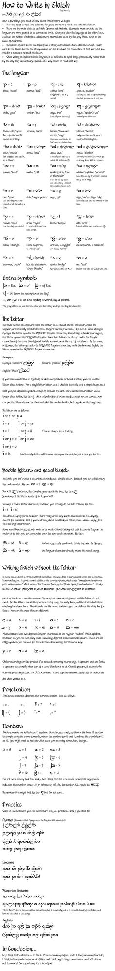 TUTORIAL: How to write in Elvish.. This is the by far the most detailed and thorough I've ever seen.