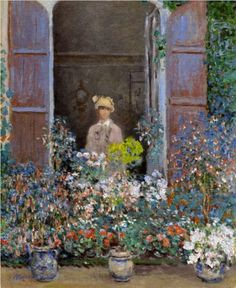 ⊰ Posing with Posies ⊱ paintings of women and flowers - Camille Monet at the Window, Argentuile - Claude Monet
