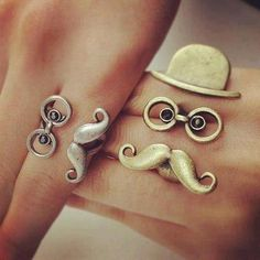Cute Little Man Rings ~ Top Hat, Glasses & Moustache!! Too cute!! Oh my lanta I want them!