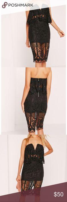 Missguided Black Bandeau lace dress *worn once* Black Bandeau lace dress *worn once* Missguided Dresses Midi