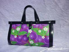 A #black #bag with #purple #berries Ted, Berries, Tote Bag, Purple, Bags, Fashion, Handbags, Moda, Fashion Styles