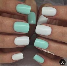 gel nails Nägel Gel Green Mint Trendy Ideas The Latest Hairstyle Fashion and Beauty Tr Mint Green Nails, Mint Nails, White Nails, White Nail Polish, Mint Nail Designs, Nailart, Dipped Nails, Cute Acrylic Nails, Super Nails