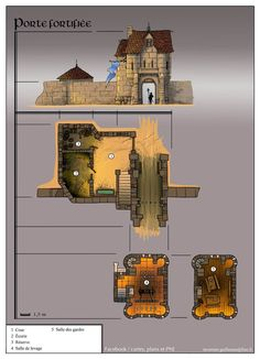 Foto: fortified gate Fantasy City, Fantasy Castle, Fantasy House, Fantasy Map, Fantasy Places, Medieval Fantasy, Building Map, Building Concept, Rpg Map