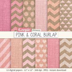 Burlap digital paper PINK & CORAL BURLAP pink burlap / by Grepic https://www.etsy.com/listing/191603738/burlap-digital-paper-pink-coral-burlap?ref=shop_home_active_6