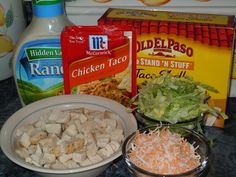 Chicken Ranch Tacos: --3 cups cooked chicken, cut up --1 pkt. taco seasoning (chicken or beef) --1/2 cup Ranch dressing ------------------ --taco shells --lettuce ---cheese --Ranch dressing --tomatoes --etc...