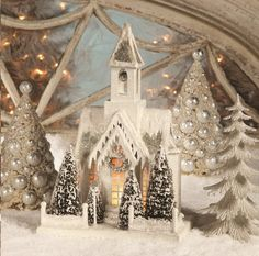Bethany Lowe Christmas Ivory Large Church
