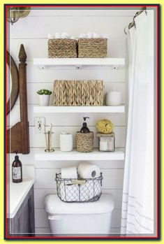 After they re-sheetrocked the walls, the couple installed inexpensive, faux shiplap on top and painted the entire room white. Rachel cleverly chose paint with a satin-finish so that light entering the (Diy Bathroom Storage) Shelves Above Toilet, Cabinet Above Toilet, Over Toilet Storage, Simple Bathroom, Master Bathroom, Bathroom Small, Tiny Bathrooms, Basement Bathroom, Bathroom Mirrors