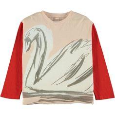 """Farah"" Big Swan Print Long Sleeve T-Shirt Pink (6090 RSD) ❤ liked on Polyvore featuring tops, t-shirts, pink long sleeve tee, longsleeve t shirts, print t shirts, animal print t shirts and animal tees"