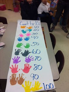 Hang on wall with this header: High five's for learning to count by 10s! Could also use for counting by 5's.