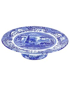 With a quaint country scene and the Imari Oriental border of Spode's Blue Italian dinnerware, this porcelain cake stand lends distinct old-world charm to traditional tables. Blue Willow China, Blue And White China, Blue China, Blue And White Dinnerware, Blue Dinnerware, Blue Dishes, White Dishes, Vintage China, Vintage Tea