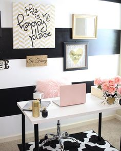 Pink Gold Office, White Office Decor, Black And White Office, Pink Home Offices, Rustic Home Offices, Home Office Space, Home Office Design, Rose Gold, My New Room