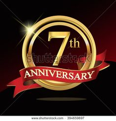 7th golden anniversary logo. with ring and ribbon.