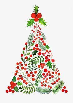 Margaret Berg Art: Berries Mistletoe Christmas Tree - Trend Being Fooled Quotes 2019 Noel Christmas, Christmas Images, Winter Christmas, Little Christmas, Vintage Christmas, Christmas Ornaments, Christmas Tree Graphic, Christmas Tree Drawing, Christmas Fabric