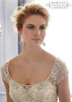 Свадебные платья от Mori Lee По Madeline Gardner стиль одежды 2680 Вышитые лиф с Кристалл Бисероплетение на Тюль свадебное платье